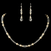 Silver Ivory Pearl, Rhinestone & Rondelle Jewelry Set 9717