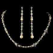 Silver Ivory Pearl & Swarovski Crystal Bead Necklace 9713 & Earrings 9718 Jewelry Set