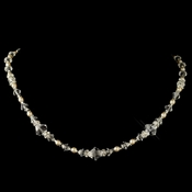 Silver Ivory Pearl, Swarovski Crystal & Rondelle Necklace 9713