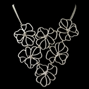 Silver Matte Floral Fashion Necklace 9503 w/ Rhinestones **Discontinued**