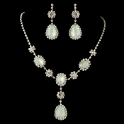 Silver Mint Opal Drop Jewelry Set 47338