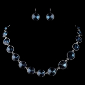 Silver Navy Round Swarovski Element Crystal Necklace 9607 & Earrings 9603 Jewelry Set