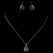 Silver Navy Teardrop Swarovski Element Crystal Jewelry Set 9602