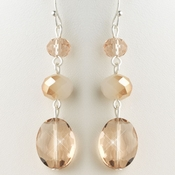 Silver Peach Rondelle Glass Stone Dangle Earrings