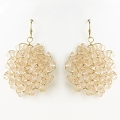Silver Pink Round Faceted Glass Crystal Earrings 9510