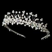 Silver Plated and Ivory Pearl Swarovski Bridal Tiara HP 727