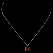 Silver Red Round Swarovski Crystal Element On Chain Necklace 9600