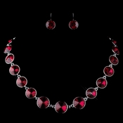 Silver Red Round Swarovski Element Crystal Necklace 9607 & Earrings 9603 Jewelry Set