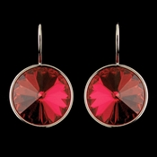 Silver Red Swarovski Crystal Element Large Round Leverback Earrings 9603
