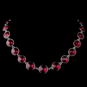 Silver Red Swarovski Crystal Round Solitaire Necklace 9607