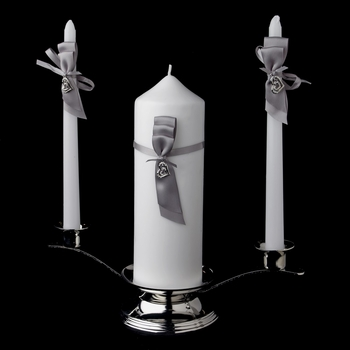 Silver Ribbon & Silver Heart Unity Candle Set 722