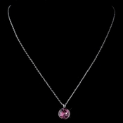 Silver Rose Round Swarovski Crystal Element On Chain Necklace 9600