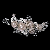 Silver Rum Pink Pearl & Rhinestone Comb with Matte Satin Flowers