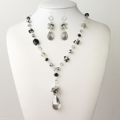 Silver Smoke Black Diamond Faceted Glass Fashion Jewelry Set 9507
