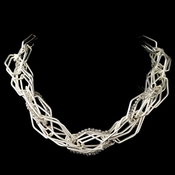 Silver Smoke Modern Necklace 9504 Accented With Crystal Beads