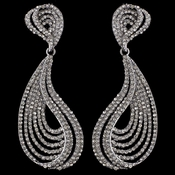 Silver Smoke Rhinestone Dangle Earrings 9893