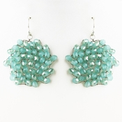 Silver Turquoise Round Faceted Glass Crystal Earrings 9510