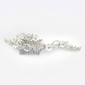 ✧SPECIAL ORDER ONLY✧ Silver White Floral Swirl Rhinestone Side Comb
