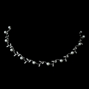 Silver White Pearl & Rhinestone Leaves Necklace 2080