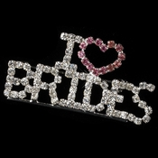 "Silver with Pink and Clear Rhinestones "" I Love Brides "" Rhinestone Brooch 9013"