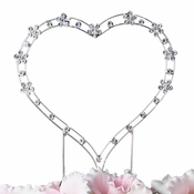 Simple Crystal Accented Heart for Wedding or Anniversary Cake Top