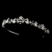 Simple & Elegant Bridal Tiara HP 6213 Silver White Pearl