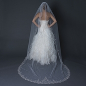 Single Layer Cathedral Length Scalloped Edge Veil with Swirly Embroidery