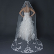 Single Layer Cathedral Length Cut  Edge Veil with Floral Lace Embroidery