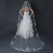 Single Layer Cathedral Length Cut Edge Veil with Floral Silver Embroidery & Beads