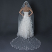 Single Layer Cathedral Length Scalloped Cut Edge Veil with Swirly Beaded Embroidery & Sequins