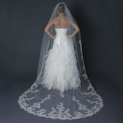 Single Layer Cathedral Length Scalloped Edge Veil with Floral Lace Embroidery