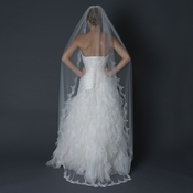 Single Layer Cathedral Length Scalloped Edge Veil with Swirly Embroidery V 1610 1W