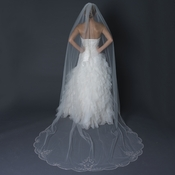 Single Layer Cathedral Length Scalloped Edge Veil with Swirly Lace Embroidery & Rhinestones