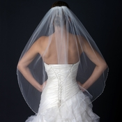 Single Layer Fingertip Length Beaded Edge Veil with Pearls & Beads