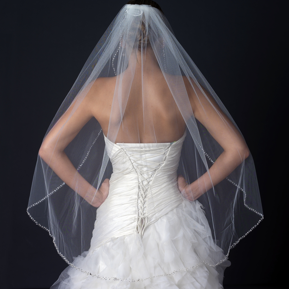 Single Layer Fingertip Length Cut Edge Bridal Veil With