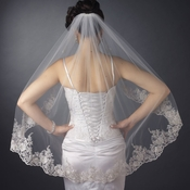 Single Layer Fingertip Length Silver Floral Embroidered Edge Veil 2128 1F