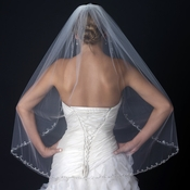 Single Layer Fingertip Length Veil with Rhinestone Beaded Cut Edge V 1131 1F