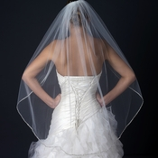 Single Layer Fingertip Length Veil with Beaded Edge V 1128 1F