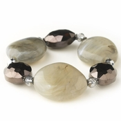 Smoked Black Diamond Faceted Glass & Stone Stretch Bracelet 9506
