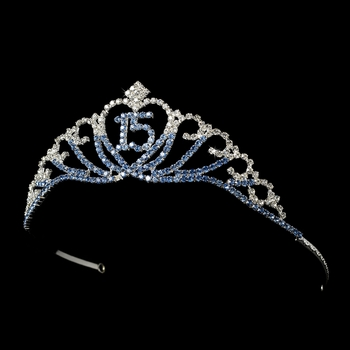 Sparkling Lt Blue and Crystal Majestic Quinceañera  Rhinestone Tiara in Silver 7032