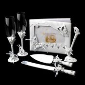 Sparkling Classic Butterfly Toasting Flutes, Cake Server, & Pen Set