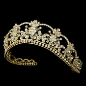 Sparkling Rhinestone & Swarovski Crystal Covered Tiara in Gold HP 523