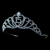 Sparkling Light Blue Covered Quincea�era  Rhinestone Tiara in Silver 7032