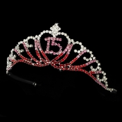 Sparkling Multi Red & Pink Majestic Quincea�era in Silver 7032