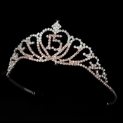 Sparkling Pink & Clear Majestic Quincea�era  RhinestoneTiara in Silver 7032