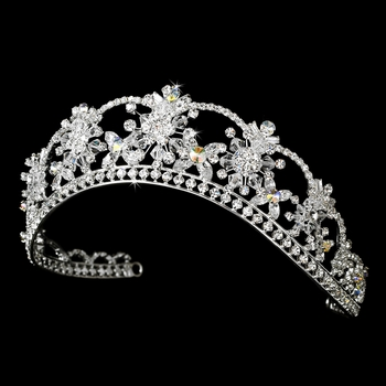 Sparkling Rhinestone & Swarovski Crystal Covered Tiara with AB Iridescent Accents in Silver 523