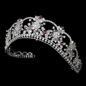 Sparkling Rhinestone & Swarovski Crystal Covered Tiara with Amethyst Accents in Silver 523