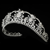 Sparkling Rhinestone & Swarovski Crystal Covered Tiara with Black Accents in Silver 523