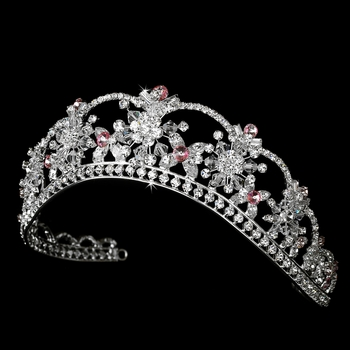 Sparkling Rhinestone & Swarovski Crystal Covered Tiara with Light Pink Accents in Silver 523