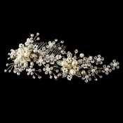 Swarovski Crystal & Freshwater Pearl Bridal  Comb 002 (Gold or Silver Ivory Rum)